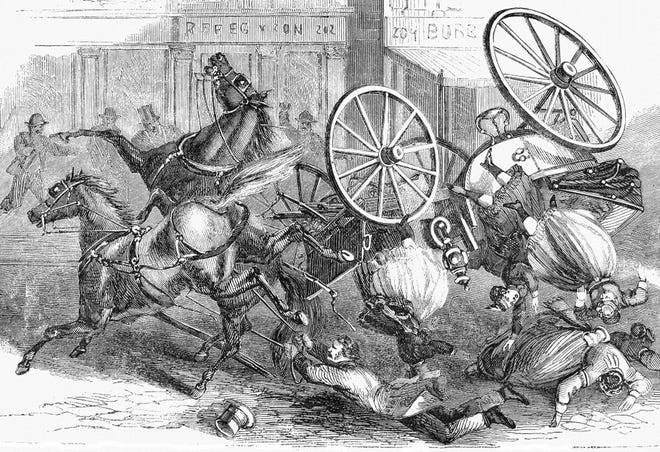 This image of horse and buggy calamity represents the mayhem that occurred in today's story.