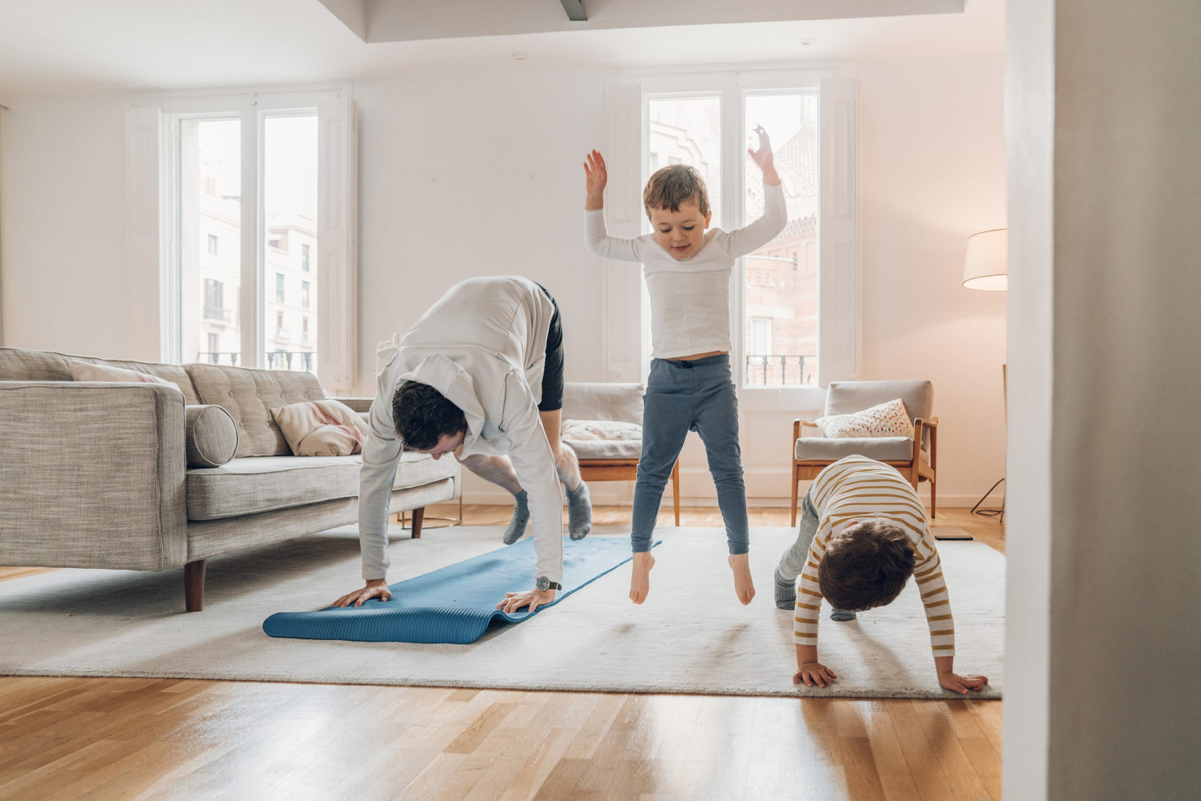 Try a simple at-home workout routine with your children — it's a win-win for everyone.