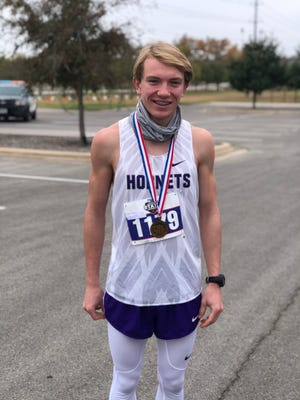 Irion County High School's Tayte Cormier finished in sixth place in the Class 1A boys division at the UIL State Cross Country Championships, Monday, Nov. 23, 2020, in Round Rock.