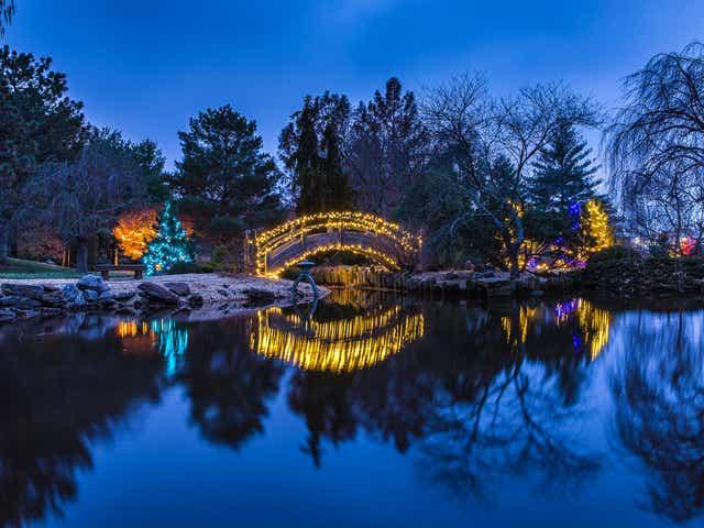 Springfield Botanical Gardens Glowing, Mizumoto Japanese Stroll Garden Springfield Missouri