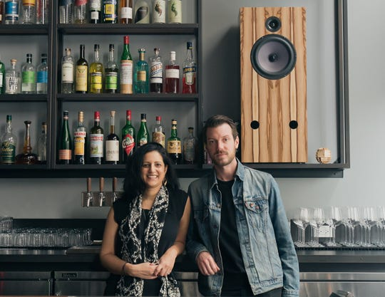 A photo from April 2019 shows Shirin Raza and her husband Daniel Gar at Bar Shiru, which they own, in Oakland, California.