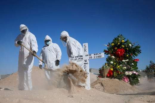 Gravediggers at Panteon Sueños Eternos burry someone who died of COVID-19 Wednesday, Nov. 11, 2020 in Ciudad Juárez, Mexico. Panteon Sueños Eternos has implemented a different protocol for COVID-19 related deaths. Cemetery workers place the caskets in a cement barrier that later gets covered with more cement before filling the gravesite with dirt. They began doing this as a precaution because they do not know what the spread of the virus can be like postmortem.