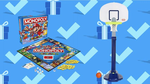 Black Friday 2020: Monopoly Super Mario Celebration Edition Board Game and Little Tikes Adjust 'n Jam Pro Basketball Set.