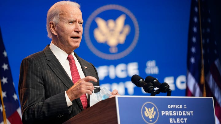 In this Nov. 19, 2020, file photo President-elect Joe Biden speaks at The Queen theater in Wilmington, Delaware.