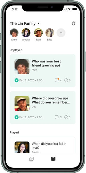 The Saga App lets you record and save stories from family members in a private app. It's like having a private family podcast.