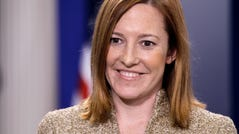 Jen Psaki is seen Feb. 16, 2011, in the James Brady Press Briefing Room of the White House in Washington. She served as communications director during the final two years of President Barack Obama's term and previously as spokeswoman for the State Department.