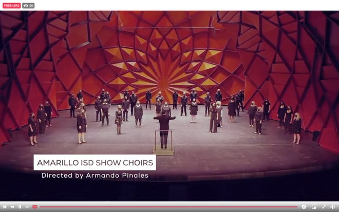 Students from the Amarillo Independent School District participating in a combined show choir sing worship songs during Tuesday's virtual community prayer breakfast.