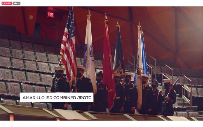 Students from the Amarillo Independent School District participating in a combined JROTC present the colors during Tuesday's virtual community prayer breakfast.
