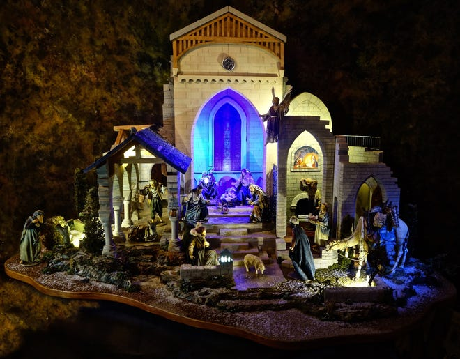 """The Bryn Athyn Nativitywill be on display this year for the""""Discover Christmas at Glencairn""""self-guided tour. Created in 2015 by Michael Stumpf and A.J. DiAntonio of Navidad Nativities in Bucks County, the elaborate scene on its 55""""x30"""" baseincorporates elements of both Glencairn and Bryn Athyn Cathedral."""