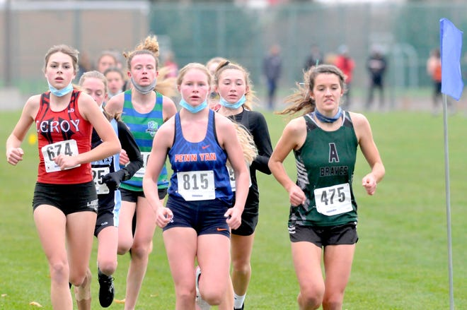 Penn Yan's Section V Champion Joddie Decker front and center. leading the pack