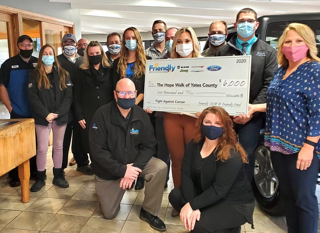 """The people at Friendly Dodge Chrysler Jeep of Penn Yan raised $6,000 for Hope Walk of Yates County during their """"Test Drive Away Cancer"""" fundraiser."""