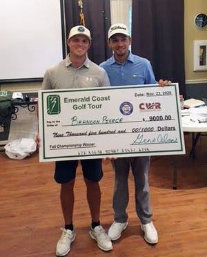 Brandon Pierce, left, and Jesus Montenegro were the top two winners in this year's Emerald Coast Golf Tour Fall Championship Pro-Am played at Kelly Plantation last weekend. Pierce, of Covington, Louisiana, shot a 202 across three days and Montenegro, an amatuer from Jacksonville, Alabama, shot a 204.