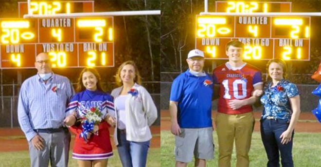 """Senior athletes were recently honored at a special """"COVID-Friendly"""" ceremony at Carbondale Area. All senior athletes, cheerleaders and band front members received recognition. Pictured here are (at left): Cheerleader Aniela Connolly, daughter of Nellie and Shawn Connolly. Football Player Raymond Ofner, son of Danielle and Raymond Ofner (at right)."""
