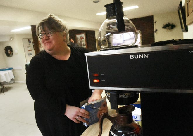 Dr. Tory Jennison makes a pot of coffee Dec. 30, 2019, for people staying at one of the overnight warming centers the Tri-Cities and Strafford County operated during the 2019-2020 cold weather season. Centers will operate again this winter at 38 Hanson St. in Rochester and at a yet-to-be-determined location in Dover, according to Jennison.