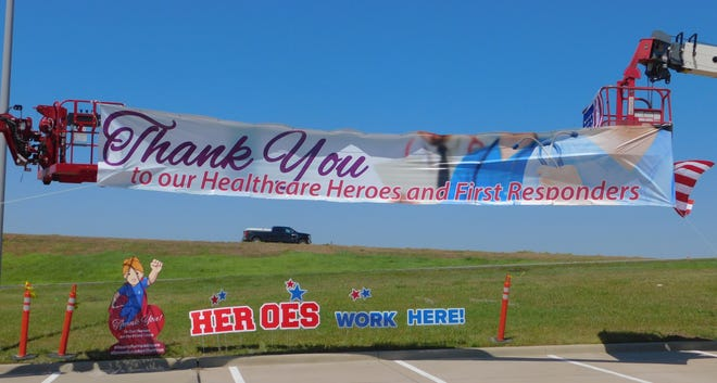 In April, a sign raising was held at Texoma Medical Center in Denison. The banner donated by FastSigns thanks health care workers for their continued service during the coronavirus pandemic.
