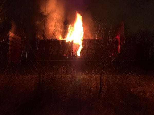 Multiple fire departments responded to a railcar fire Monday night in Lawrence Township.