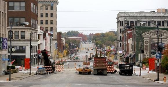 Massillon's downtown Lincoln Way streetscape was a multi-month project in 2019.