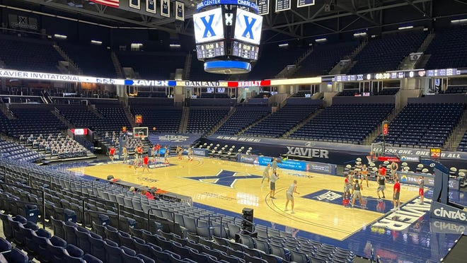 The Bradley men's basketball team works out on the floor of the Cintas Center in Cincinnati, the site of this week's Xavier Invitational.