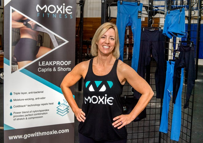 Holly Mosack, owner of Crossfit 309 in Peoria Heights, has developed a line of fitness apparel designed to provide some relief for women who experience incontinence from the physical stress of working out. Moxie Fitness Apparel is lined with a special material that wicks away moisture and absorbs it into a center layer.