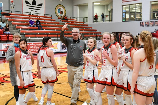 Shallowater celebrates head coach Chuck Darden's 1,000th win on Tuesday, Nov. 24, 2020, in Shallowater, Texas.