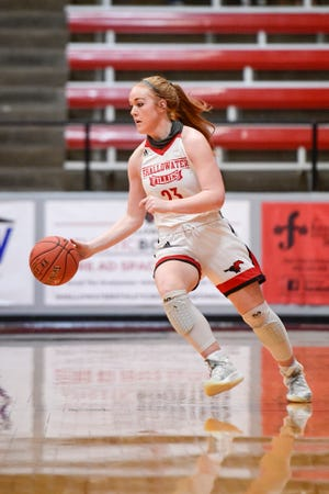 Shallowater's Bree Brattain (23) drives the ball against Midland High during a nondistrict game Nov. 24 in Shallowater. Brattain scored 23 points as the Fillies claimed an 82-15 win over Andrews in nondistrict play Saturday.