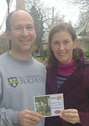 Brad and Amanda Allen win the 2020 Fairport Tree Scavenger Hunt organized by the Fairport Tree Board.