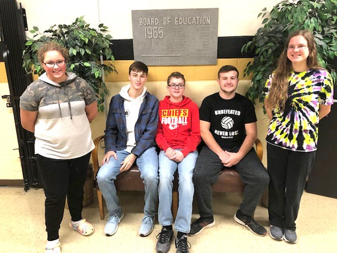 Educators at Northeast R-IV School at Cairo named its Students of the Month for November of 2020. They are Emily Burks of the middle school, Thad Harman of the high school, Reece Robinson of the middle school, Trace Ackley of the high school and Emily Decoske of the high school.