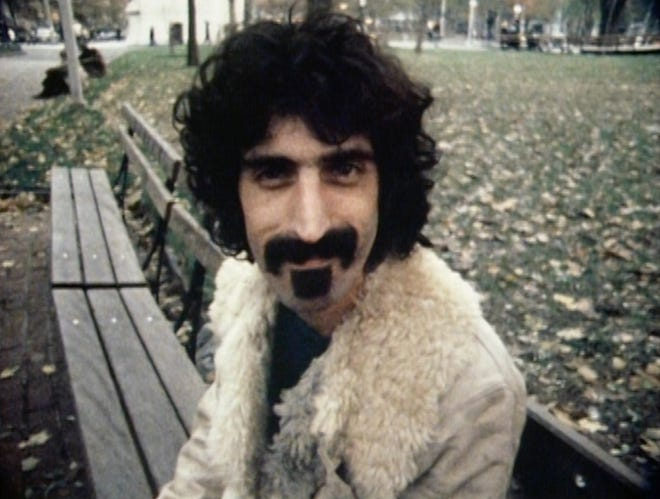 "Frank Zappa in a scene from the documentary ""Zappa."""