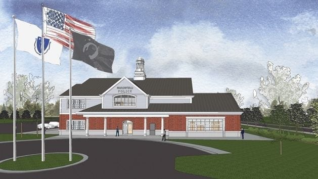 A rendering of the proposed new Marshfield police station