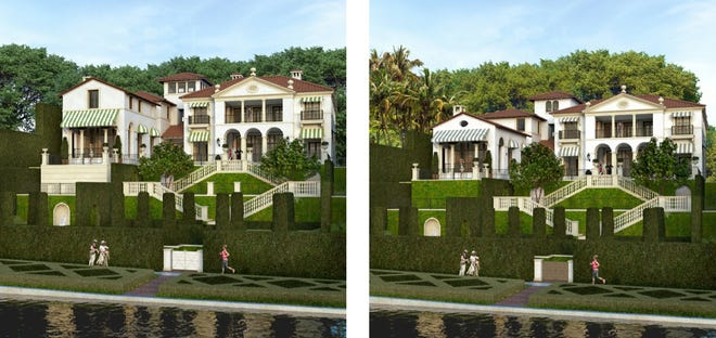 Side-by-side renderings show how the original design, left, for a house on a sloped lot at 756 Hi Mount Road was scaled down for its presentation Friday before the Palm Beach Architectural Commission. Note especially the changes to the heights of the wing on the left and the tower.