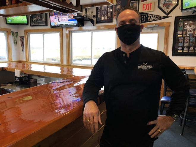Dick Varano, the owner of Billy's Chowder House in Wells, is seen here at his restaurant on Monday, Nov. 23, moments after discussing the effects of the state's new mandated closing time on local businesses.
