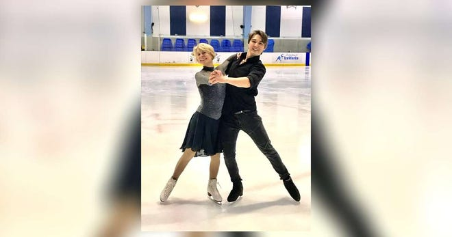 Adult skater Michele Kelley and ice dancer and coach Temirlan Yerzhanov at Palm Beach Ice Works in West Palm Beach.