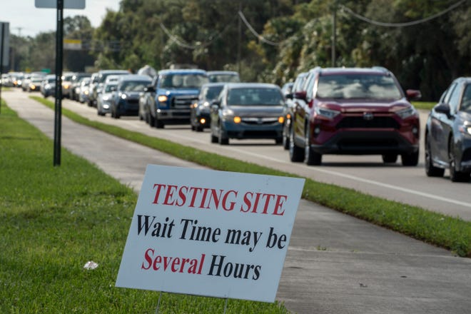 People line up to be tested for COVID-19 at a testing site at FITTEAM Ballpark of the Palm Beaches on Nov. 24.