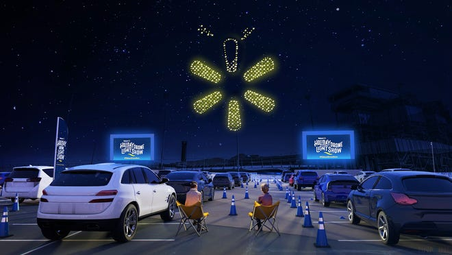 "Walmart teams up with Intel to light up the sky with an ""All-New Holiday Drone Light Show"" during a live-streamed event on Saturday, Dec. 5 at 7:40 p.m. ET."