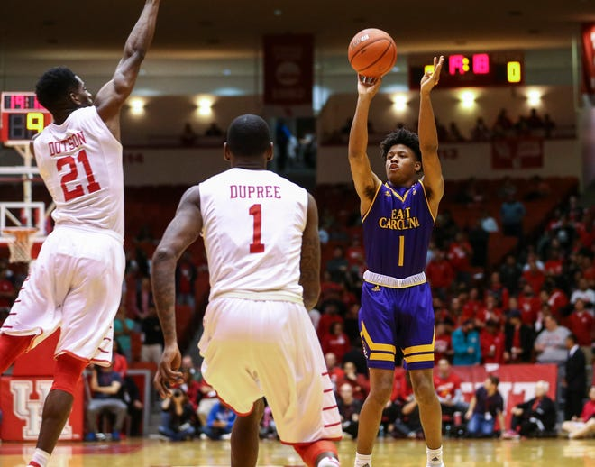 Jeremy Sheppard, shown taking a shot against Houston in 2017 while he was with East Carolina, will take the floor for URI this season after a year of ineligibility.