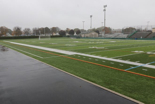 High school football fields across Rhode Island will look a lot like this one at empty Cranston Stadium. The COVID-19 pandemic has erased high school football this fall in the state, including the traditional Thanksgiving Day rivalry games.