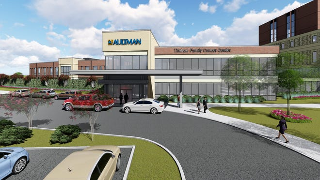 A rendering of the entrance of  Aultman's Timken Family Cancer Center.