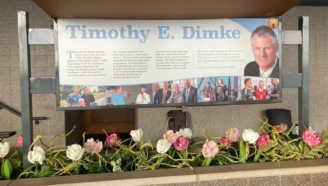 """The Rockford Park District is renaming the expanded Indoor Sports Center """"Dimke Field"""" after retired executive director Tim Dimke."""