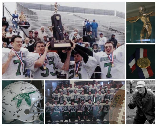 Collage made of items from the trophy case containing items from Wethersfield's 2001 Class 1A state football championship. Top left: Scott DeRyche (70), Wade Werkheiser (53), Court Jackson (25) and Jarrod Johnson (7) hold the state championship trophy; Clockwise: Football player atop state championship trophy;  championship medallion; late Dave Lapan, athletic director who died during the playoffs for whom the trophy case is dedicated; team photo and game ball; helmet signed by the players.