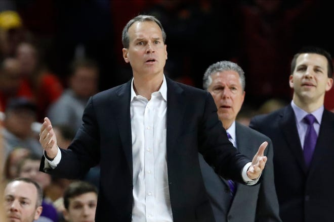 FILE - In this Feb. 18, 2020, file photo,  Northwestern head coach Chris Collins, in a photo from Feb. 18, 2020,  starts his eighth season coaching the team.