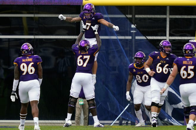 East Carolina offensive lineman D'Ante Smith (67) is currently training in Las Vegas for the upcoming NFL Draft. The former Grovetown lineman also earned an invite to the 2021 Senior Bowl.