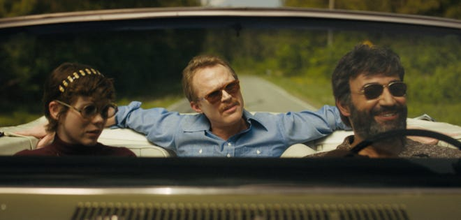 """Sophia Lillis (left to right), Paul Bettany and Peter Macdissi star in a scene from the Wilmington-shot film """"Uncle Frank,"""" premiering Nov. 25 on Amazon Prime."""