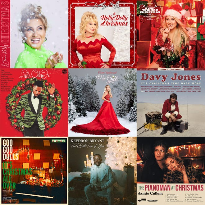 A combination photo shows holiday album covers, top row from left, from Tory Kelly, Dolly Parton, Meghan Trainor; second row, Leslie Odom Jr., Carrie Underwood,  Davy Jones, bottom row, Goo Goo Dolls, Keedron Bryant and Jamie Cullum.