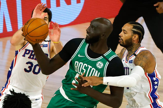 Celtics center Tacko Fall got to see some action during this year's playoffs in the NBA's Florida bubble.