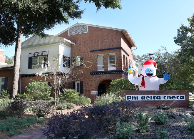 The fraternity Phi Delta Theta at the University of Florida has had student privileges revoked after a conduct committee sanctioned the house following COVID-19 rule-breaking accusations. [Brad McClenny/The Gainesville Sun]