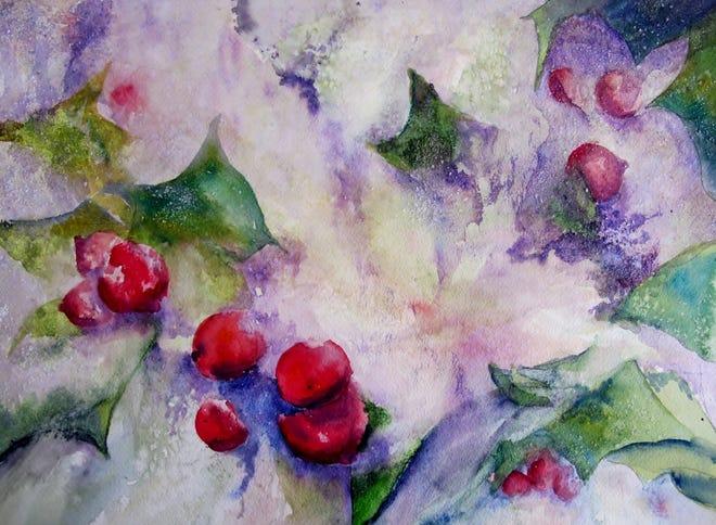 "Judi Getch Brodman, ""Holly Berries"" watercolor."