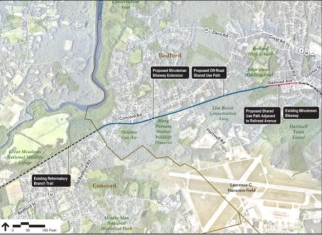 The proposed extension of the Minuteman Bikeway.