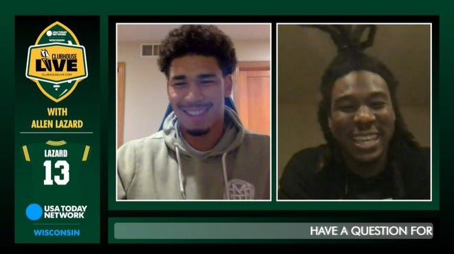 Green Bay Packers wide receiver Allen Lazard (left) co-hosted Monday's Clubhouse Live. Lazard's guest was Packers running back Jamaal Williams.