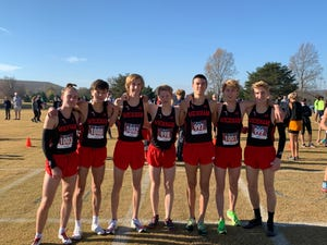 "Satellite boy's were fifth, running as ""Wickham Distance Project"" in Huntsville, Ala., cross country meet on Nov. 21. Courtesy of Doug Butler."