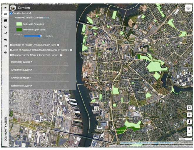 A screenshot shows the Camden Conservation Blueprint, an online map showing parks and green spaces throughout the city.